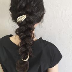 ヘアアレンジ 暗髪 フェミニン ゆるふわ ヘアスタイルや髪型の写真・画像