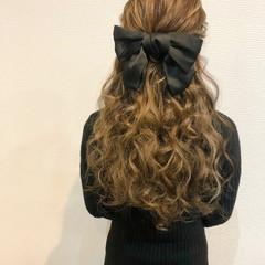 ヘアセット 結婚式 リボンアレンジ ハーフアップ ヘアスタイルや髪型の写真・画像