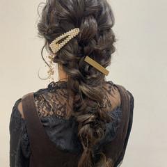 結婚式 ナチュラル ヘアセット 編みおろし ヘアスタイルや髪型の写真・画像