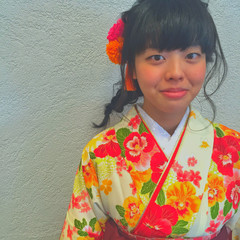 ミディアム ショート ヘアアレンジ 袴 ヘアスタイルや髪型の写真・画像