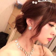 セミロング 花嫁 結婚式 愛され ヘアスタイルや髪型の写真・画像