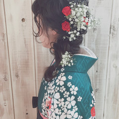 フェミニン 黒髪 袴 セミロング ヘアスタイルや髪型の写真・画像