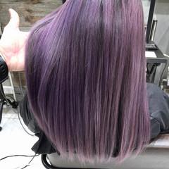 ストリート ロング ラベンダーアッシュ ピンクパープル ヘアスタイルや髪型の写真・画像