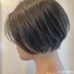 透明感カラー ショートヘア ショートボブ ナチュラル ヘアスタイルや髪型の写真・画像