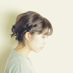 ショート 暗髪 大人かわいい 簡単ヘアアレンジ ヘアスタイルや髪型の写真・画像