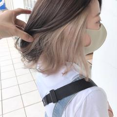 ダブルカラー ボブ インナーカラー ナチュラル ヘアスタイルや髪型の写真・画像