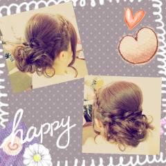 三つ編み ルーズ アップスタイル ヘアアレンジ ヘアスタイルや髪型の写真・画像