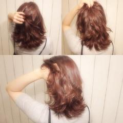 ニュアンス セミロング ピンク レイヤーカット ヘアスタイルや髪型の写真・画像