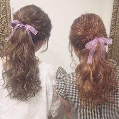 ガーリー デート ポニーテール 女子会 ヘアスタイルや髪型の写真・画像