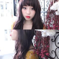 ピンクアッシュ ロング ベージュ ナチュラル ヘアスタイルや髪型の写真・画像