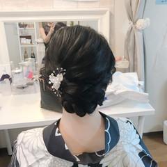 女子力 黒髪 上品 結婚式 ヘアスタイルや髪型の写真・画像