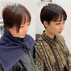 ショート オン眉 ショートヘア ナチュラル ヘアスタイルや髪型の写真・画像