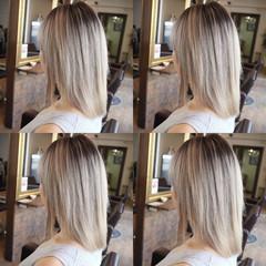 ガーリー ミディアム ホワイト ブリーチ ヘアスタイルや髪型の写真・画像