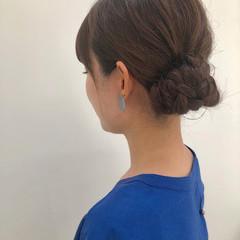 成人式 簡単ヘアアレンジ ナチュラル ミディアム ヘアスタイルや髪型の写真・画像