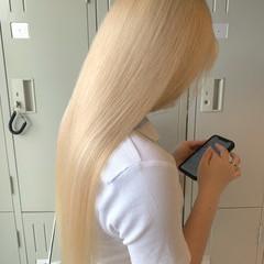ホワイトブリーチ ホワイトカラー エレガント ブロンドカラー ヘアスタイルや髪型の写真・画像