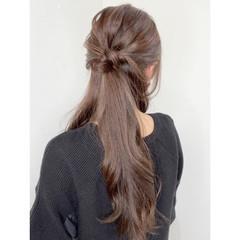 ナチュラル 簡単ヘアアレンジ セルフアレンジ ロング ヘアスタイルや髪型の写真・画像