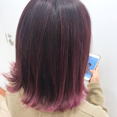 切りっぱなし ピンクバイオレット ピンク ストリート ヘアスタイルや髪型の写真・画像