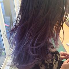 セミロング ストリート グラデーションカラー パープル ヘアスタイルや髪型の写真・画像