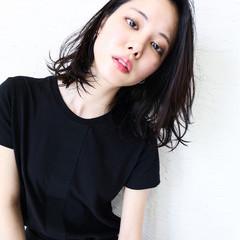 黒髪 モード 大人かわいい ロブ ヘアスタイルや髪型の写真・画像