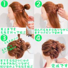 簡単ヘアアレンジ スポーツ デート フェミニン ヘアスタイルや髪型の写真・画像