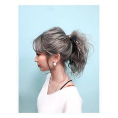 外国人風 夏 アッシュ ヘアアレンジ ヘアスタイルや髪型の写真・画像