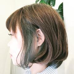 ストリート インナーカラー ボブ アッシュグレージュ ヘアスタイルや髪型の写真・画像