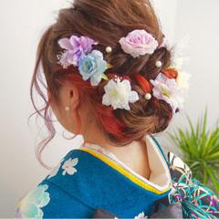 ガーリー 成人式 セミロング ヘアアレンジ ヘアスタイルや髪型の写真・画像