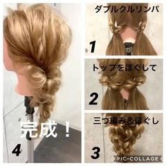 フェミニン セルフヘアアレンジ セミロング ヘアアレンジ ヘアスタイルや髪型の写真・画像