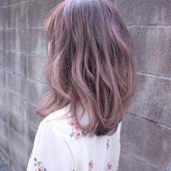 ラベンダーピンク ラベンダー ガーリー ミディアム ヘアスタイルや髪型の写真・画像