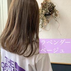 ロング ラベンダーグレージュ ラベンダーカラー フェミニン ヘアスタイルや髪型の写真・画像