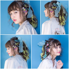簡単ヘアアレンジ ヘアアレンジ グラデーションカラー ショート ヘアスタイルや髪型の写真・画像