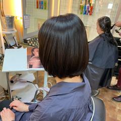ナチュラル ショートボブ 縮毛矯正ストカール 艶髪 ヘアスタイルや髪型の写真・画像