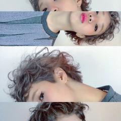 ガーリー ハイライト 前髪あり ショート ヘアスタイルや髪型の写真・画像