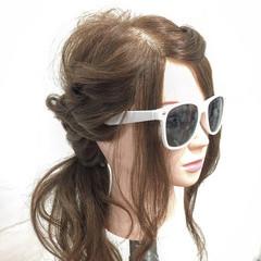 編み込み ヘアアレンジ ロング ガーリー ヘアスタイルや髪型の写真・画像