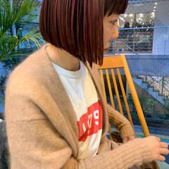 ミニボブ ショートヘア インナーカラー ショートボブ ヘアスタイルや髪型の写真・画像