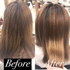 髪質改善 髪質改善トリートメント 縮毛矯正 セミロング ヘアスタイルや髪型の写真・画像