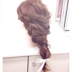 編み込み ロング まとめ髪 ヘアスタイルや髪型の写真・画像