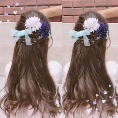 ロング 結婚式 ガーリー ヘアアレンジ ヘアスタイルや髪型の写真・画像