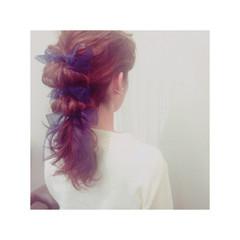 ヘアアレンジ 結婚式 フェミニン ゆるふわ ヘアスタイルや髪型の写真・画像
