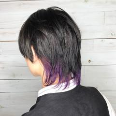 インナーカラー ショート ウルフカット ブルーバイオレット ヘアスタイルや髪型の写真・画像