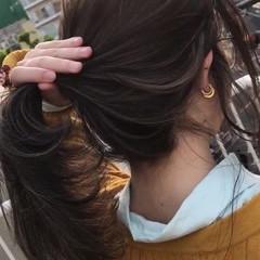 ヘアアレンジ ナチュラル ハイライト ポニーテール ヘアスタイルや髪型の写真・画像