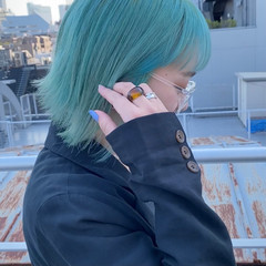 ハイトーンカラー 髪質改善 ストリート 外ハネボブ ヘアスタイルや髪型の写真・画像