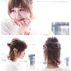 編み込み ヘアアレンジ 透明感 おフェロ ヘアスタイルや髪型の写真・画像