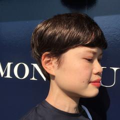 ベリーショート 透明感 ウェットヘア ショート ヘアスタイルや髪型の写真・画像