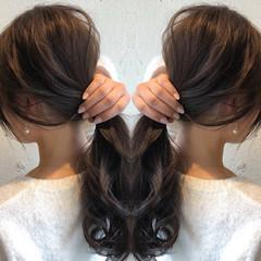 ナチュラル ベージュ セミロング イルミナカラー ヘアスタイルや髪型の写真・画像