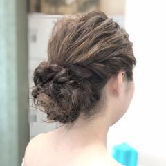 エレガント 編み込み 結婚式 ヘアアレンジ ヘアスタイルや髪型の写真・画像