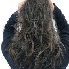 ハーフアップ グラデーションカラー 上品 セミロング ヘアスタイルや髪型の写真・画像