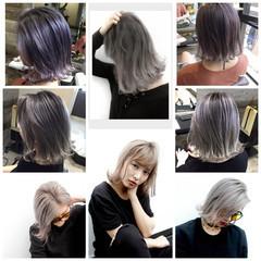 ラベンダー ホワイトアッシュ ホワイト グレージュ ヘアスタイルや髪型の写真・画像