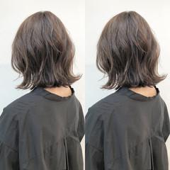 女子力 ボブ 切りっぱなし グレージュ ヘアスタイルや髪型の写真・画像