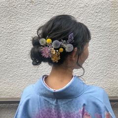 卒業式 セミロング ヘアアレンジ 簡単ヘアアレンジ ヘアスタイルや髪型の写真・画像